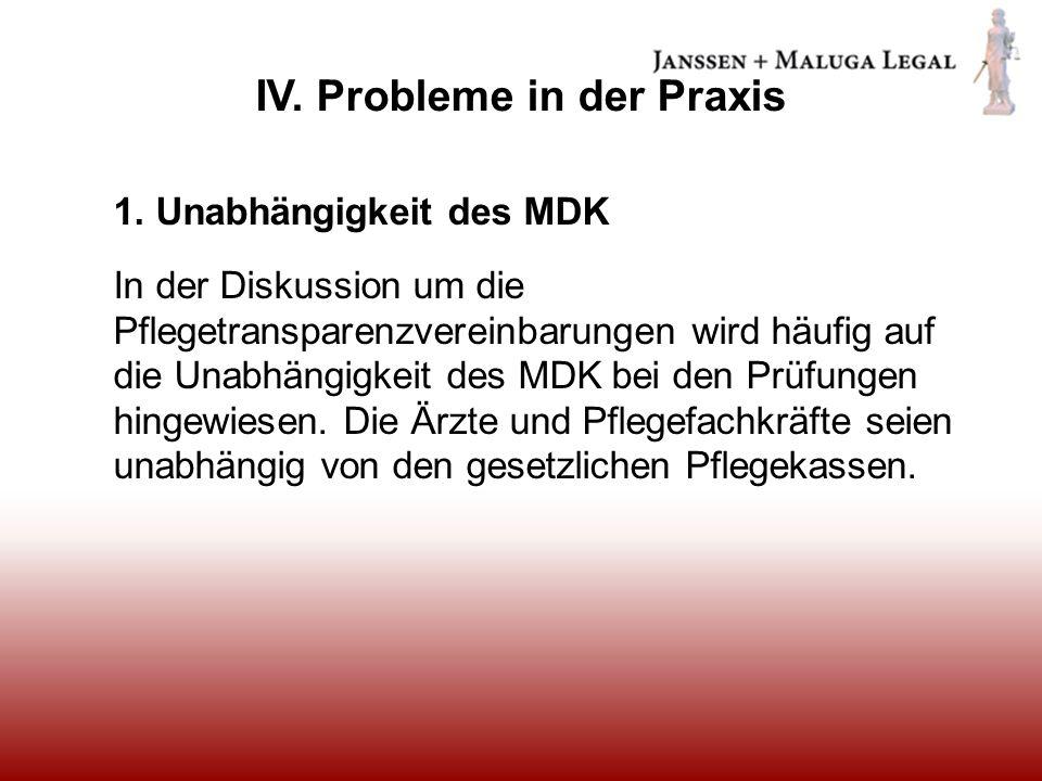 IV. Probleme in der Praxis