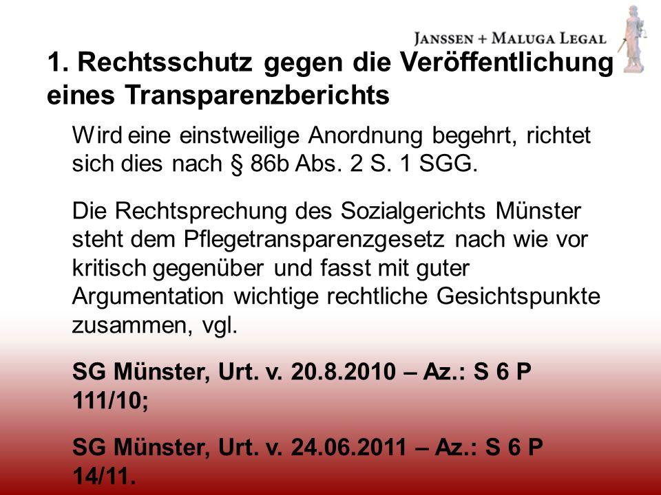 1. Rechtsschutz gegen die Veröffentlichung eines Transparenzberichts