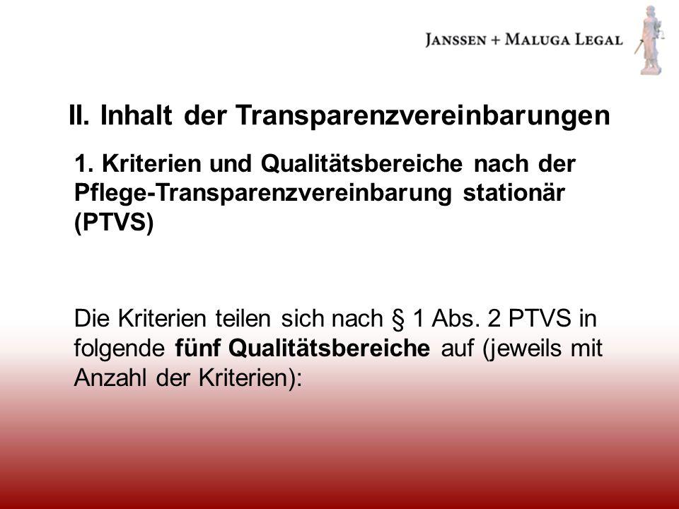 II. Inhalt der Transparenzvereinbarungen