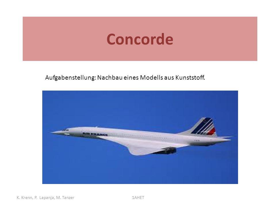 Concorde Aufgabenstellung: Nachbau eines Modells aus Kunststoff. Betrieb: 1976 bis 2003. K. Krenn, P. Lapanja, M. Tanzer.