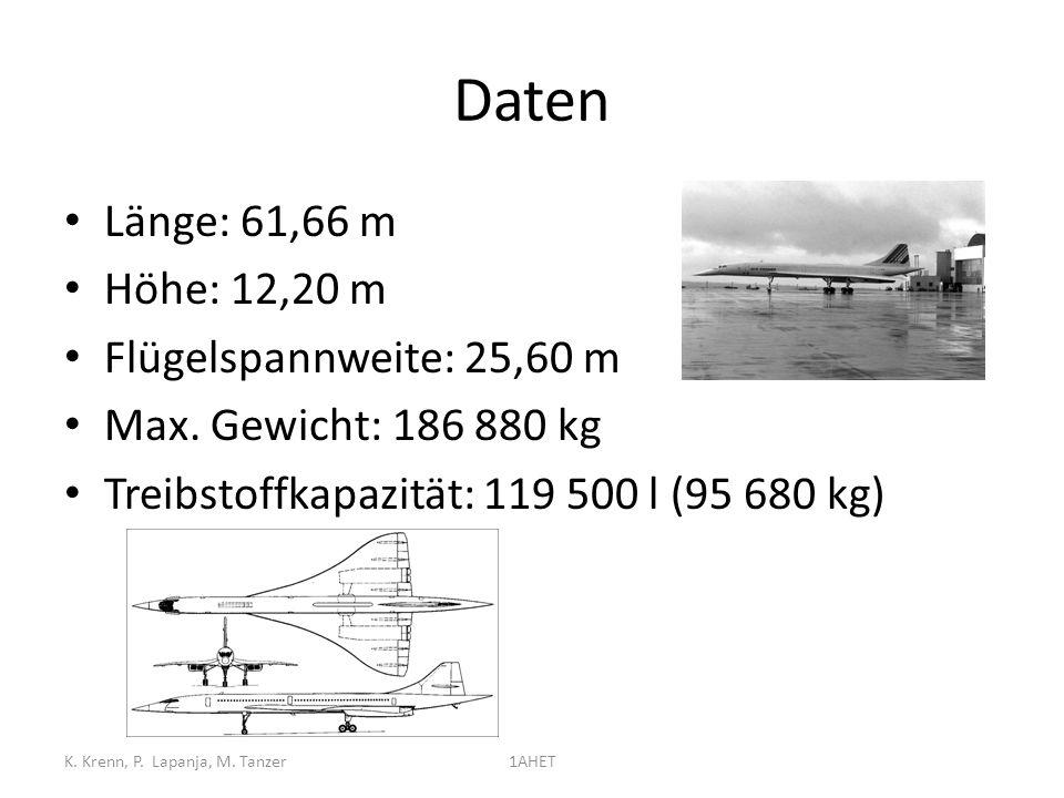 Daten Länge: 61,66 m Höhe: 12,20 m Flügelspannweite: 25,60 m