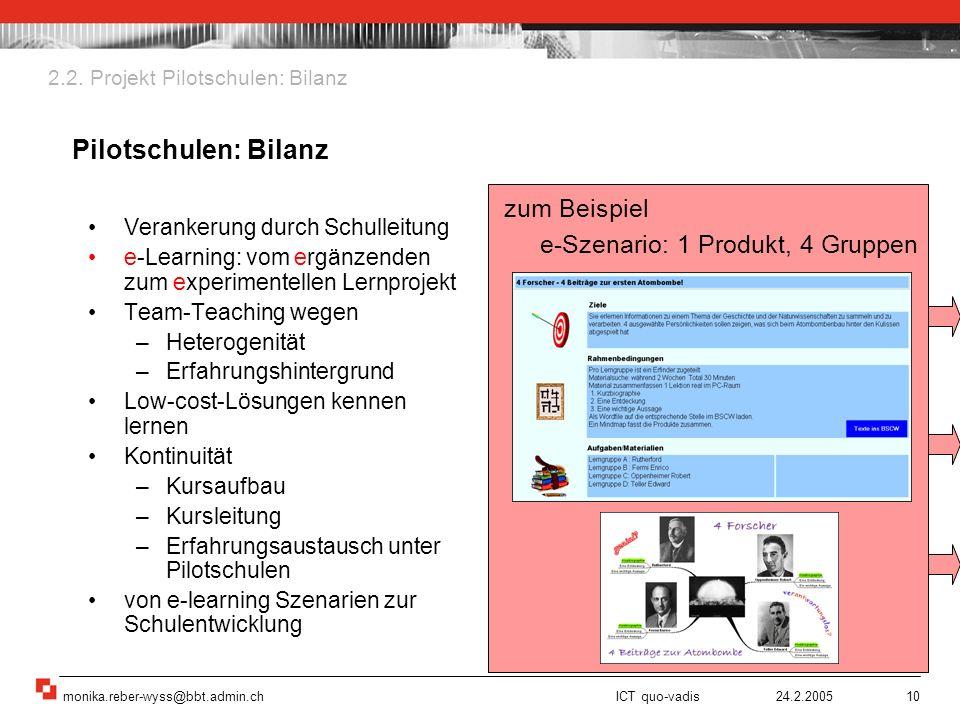 Pilotschulen: Bilanz zum Beispiel e-Szenario: 1 Produkt, 4 Gruppen