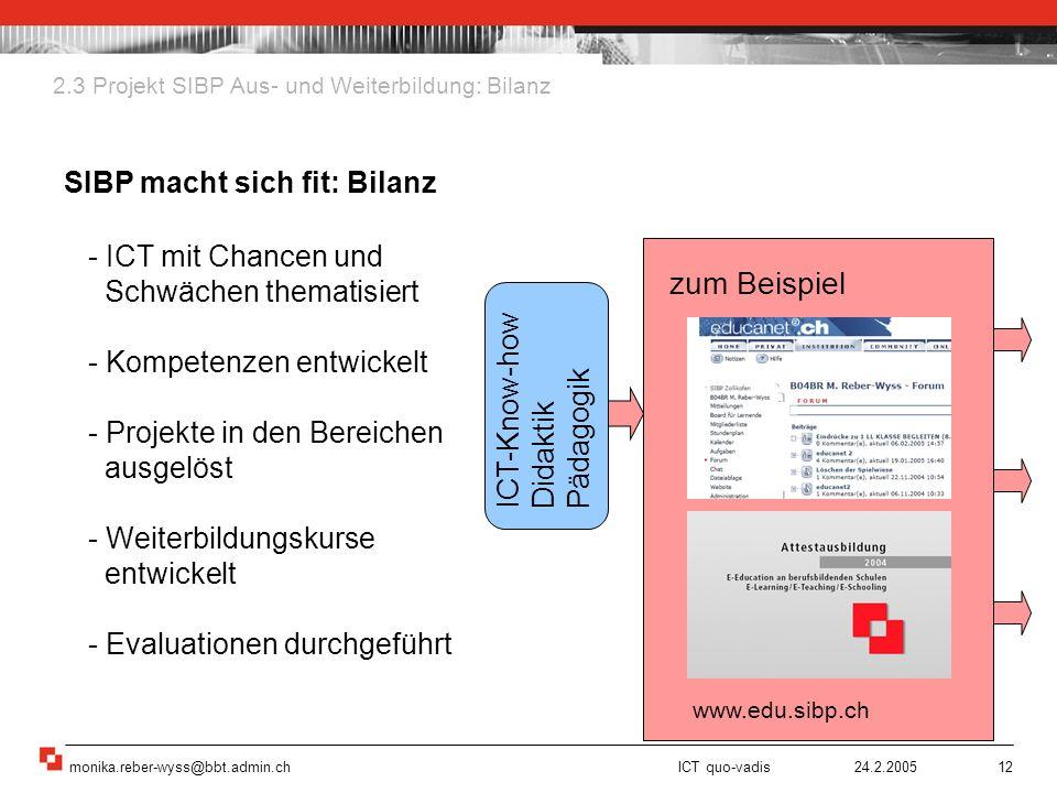 www.edu.sibp.ch zum Beispiel SIBP macht sich fit: Bilanz