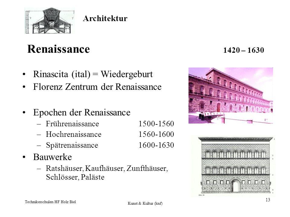Renaissance 1420 – 1630 Rinascita (ital) = Wiedergeburt