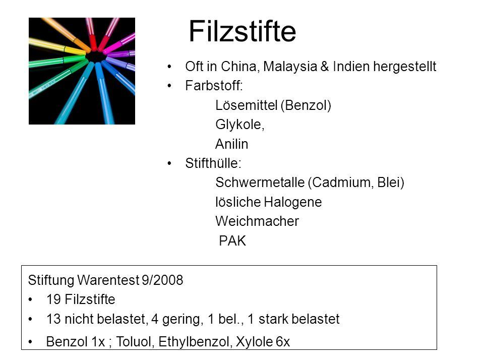 Filzstifte Oft in China, Malaysia & Indien hergestellt Farbstoff: