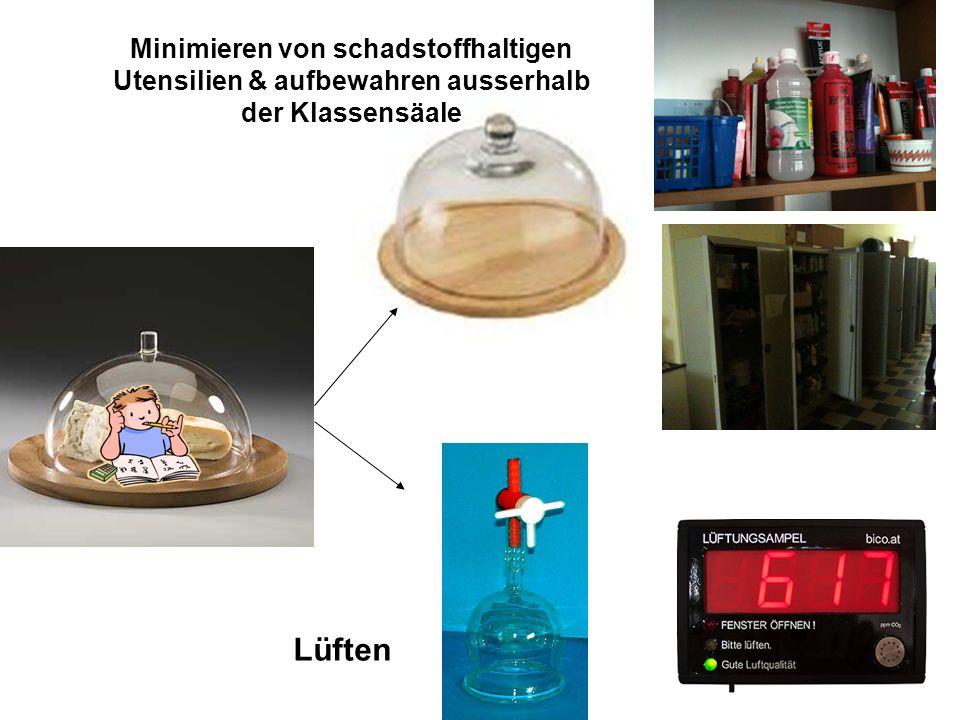 Minimieren von schadstoffhaltigen Utensilien & aufbewahren ausserhalb der Klassensäale