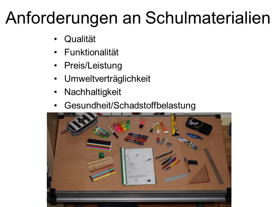 Anforderungen an Schulmaterialien