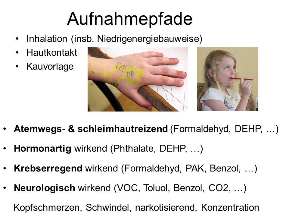 Aufnahmepfade Inhalation (insb. Niedrigenergiebauweise) Hautkontakt