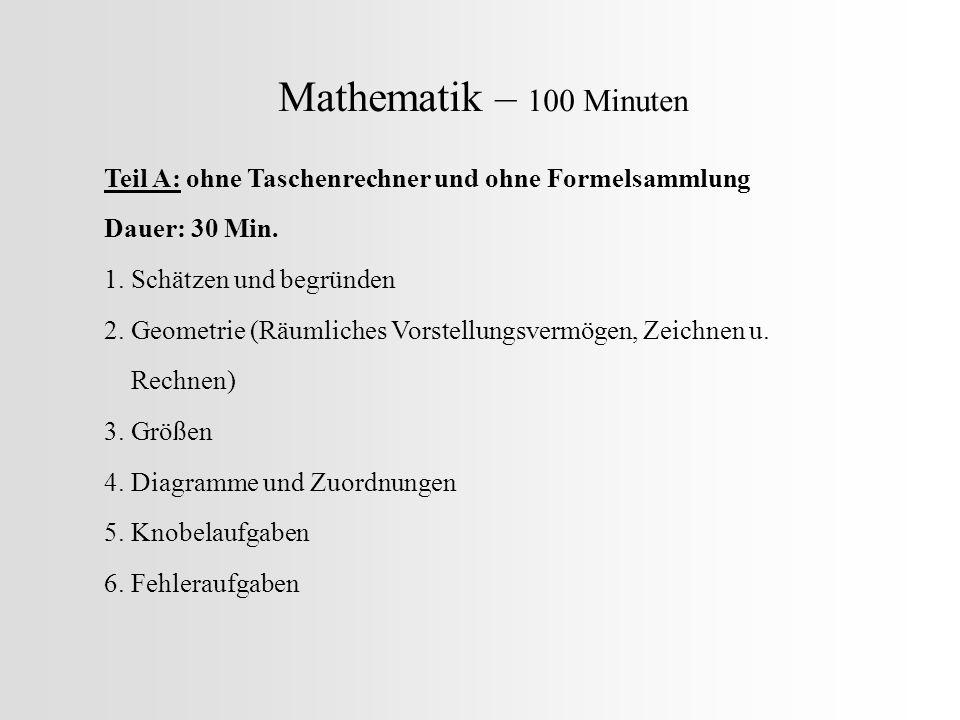 Mathematik – 100 Minuten Teil A: ohne Taschenrechner und ohne Formelsammlung. Dauer: 30 Min. 1. Schätzen und begründen.