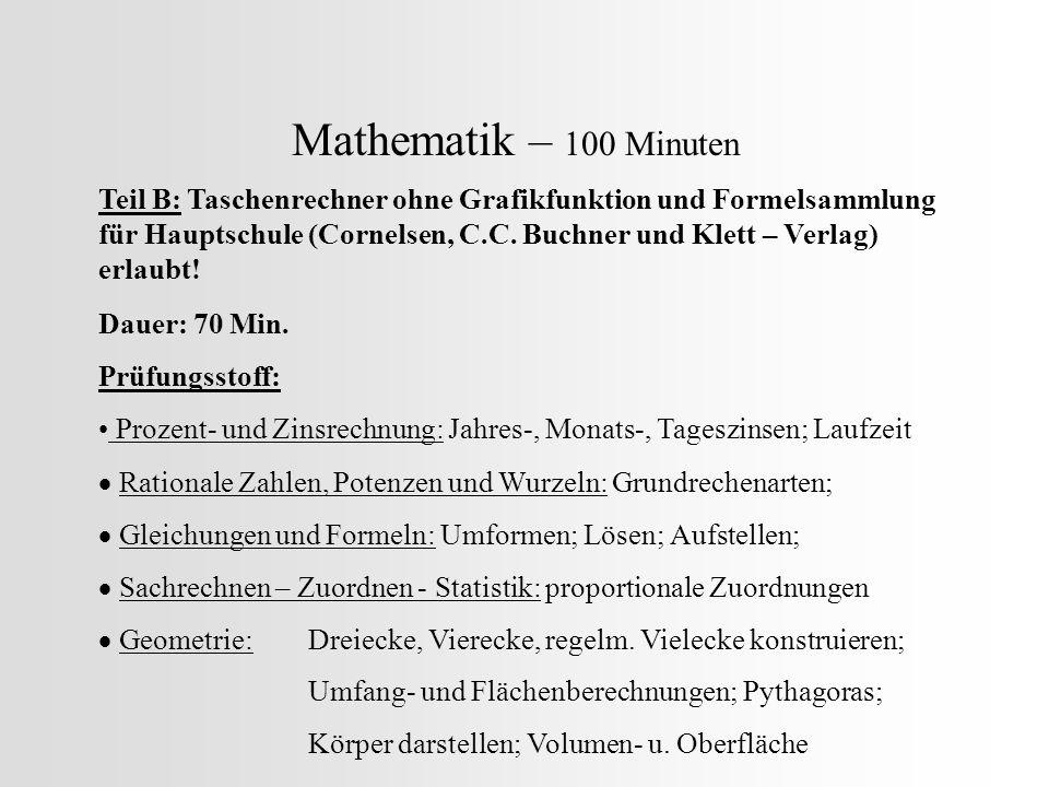 Mathematik – 100 Minuten