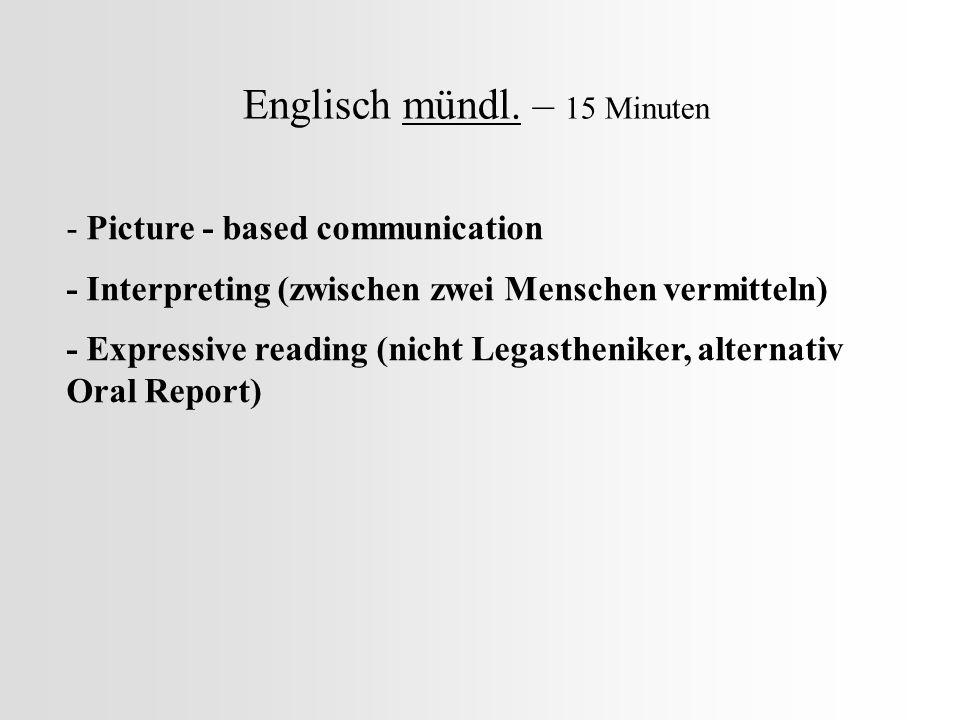 Englisch mündl. – 15 Minuten
