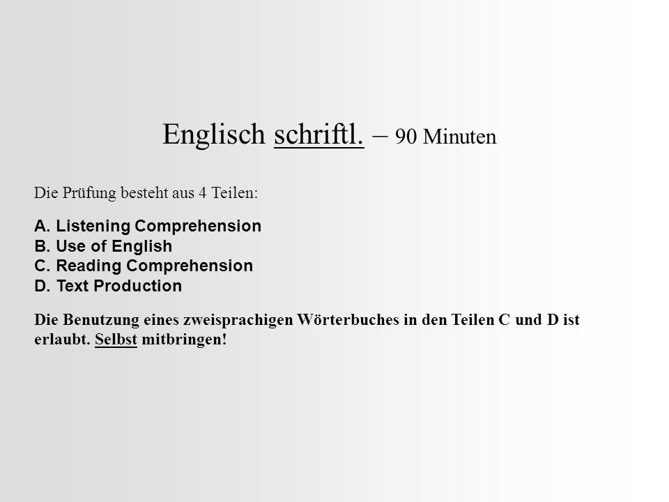 Englisch schriftl. – 90 Minuten