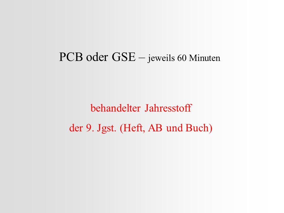PCB oder GSE – jeweils 60 Minuten