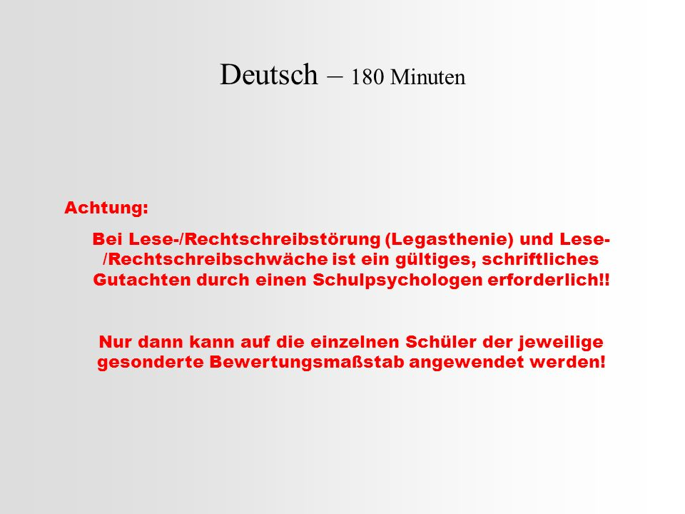 Deutsch – 180 Minuten Achtung: