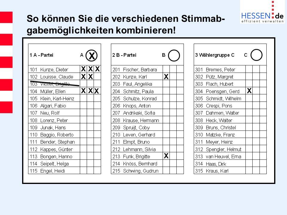So können Sie die verschiedenen Stimmab- gabemöglichkeiten kombinieren!