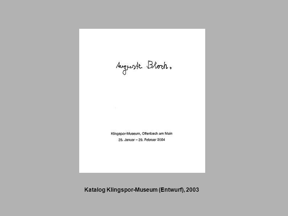 Katalog Klingspor-Museum (Entwurf), 2003