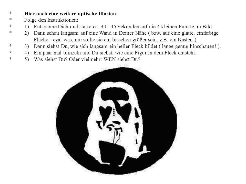 * Hier noch eine weitere optische Illusion: * Folge den Instruktionen: * 1) Entspanne Dich und starre ca.