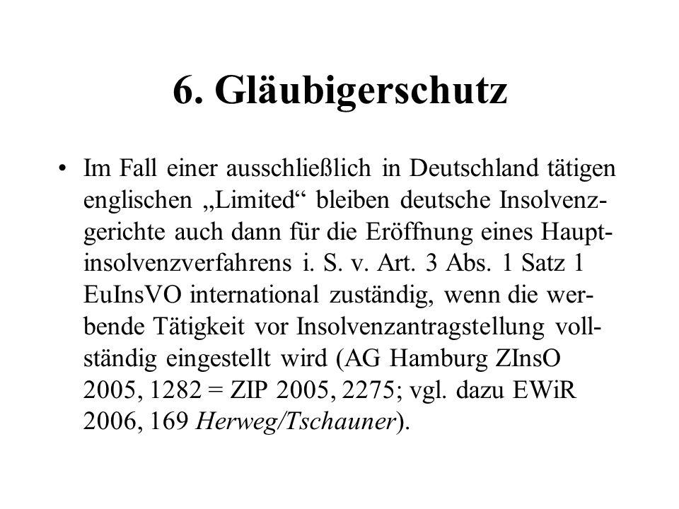 6. Gläubigerschutz