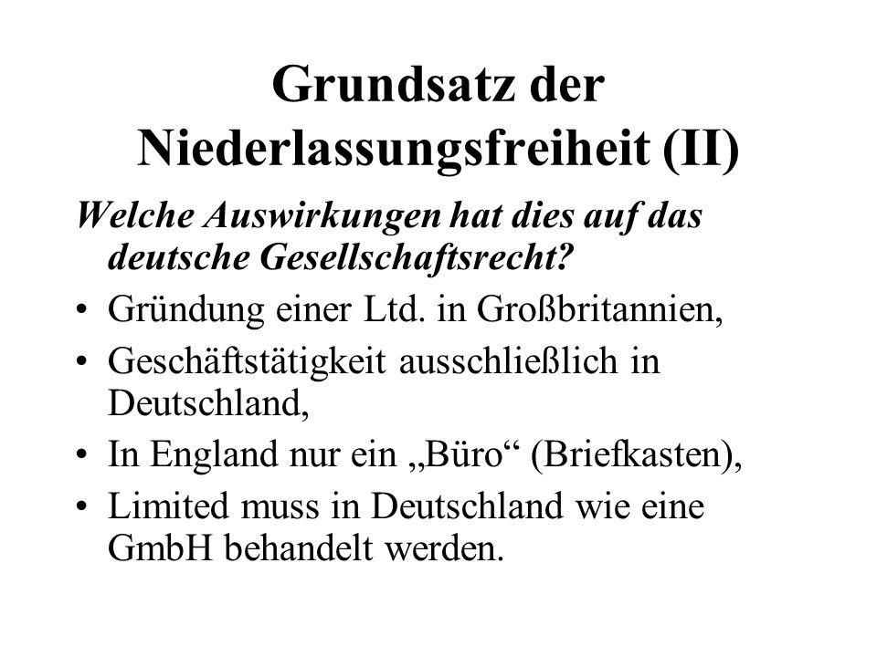 Grundsatz der Niederlassungsfreiheit (II)