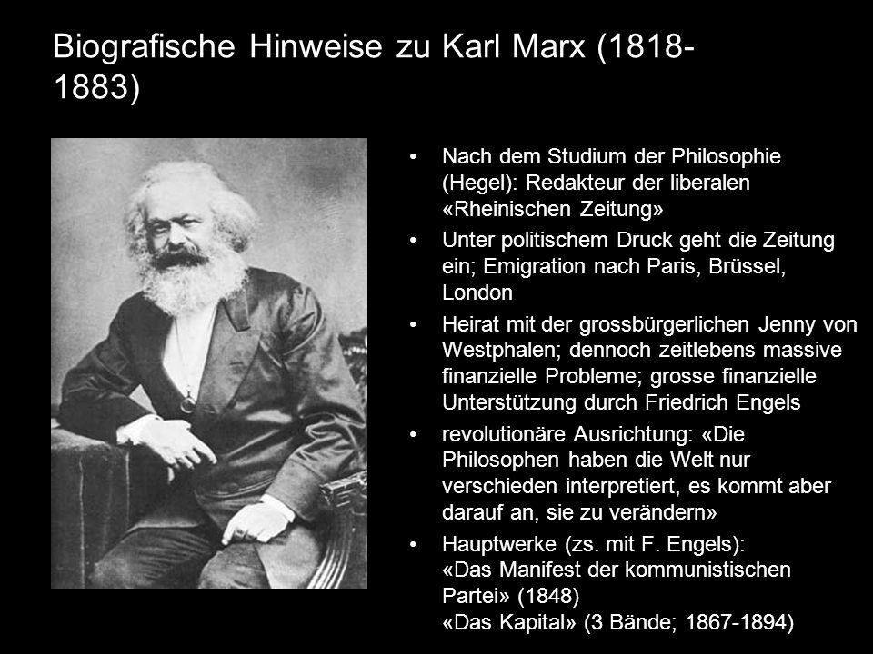 Biografische Hinweise zu Karl Marx (1818-1883)