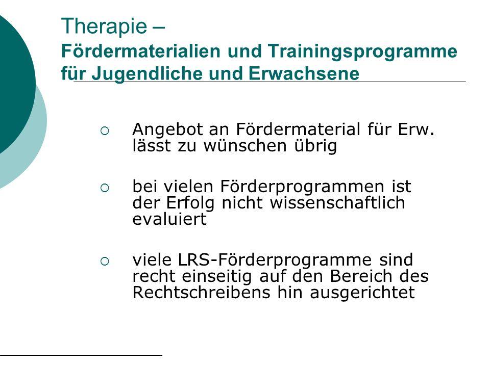 Therapie – Fördermaterialien und Trainingsprogramme für Jugendliche und Erwachsene