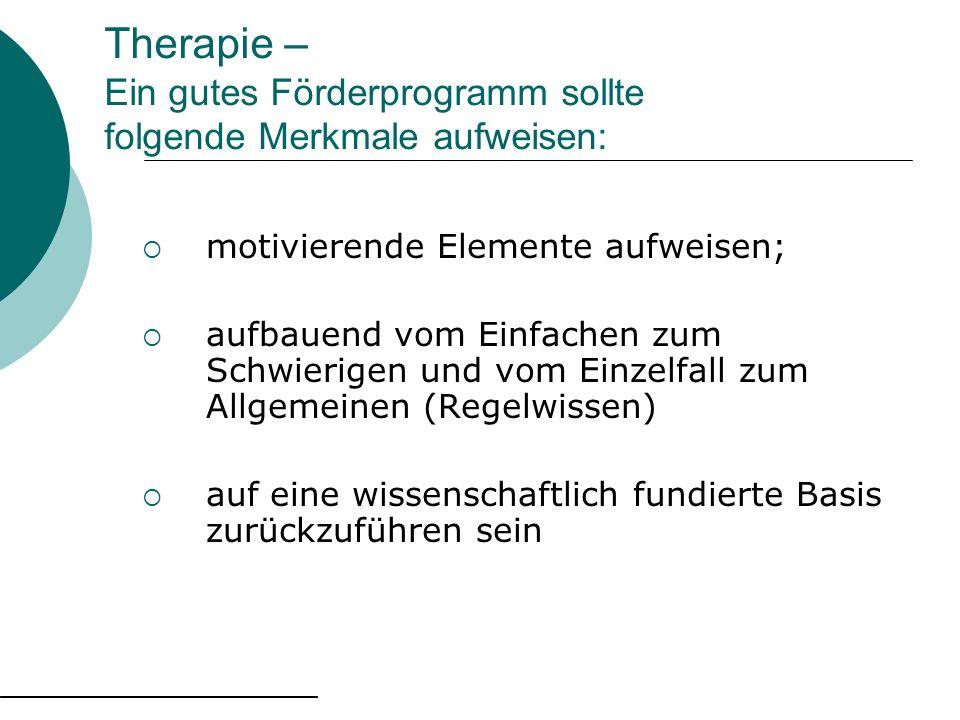 Therapie – Ein gutes Förderprogramm sollte folgende Merkmale aufweisen: