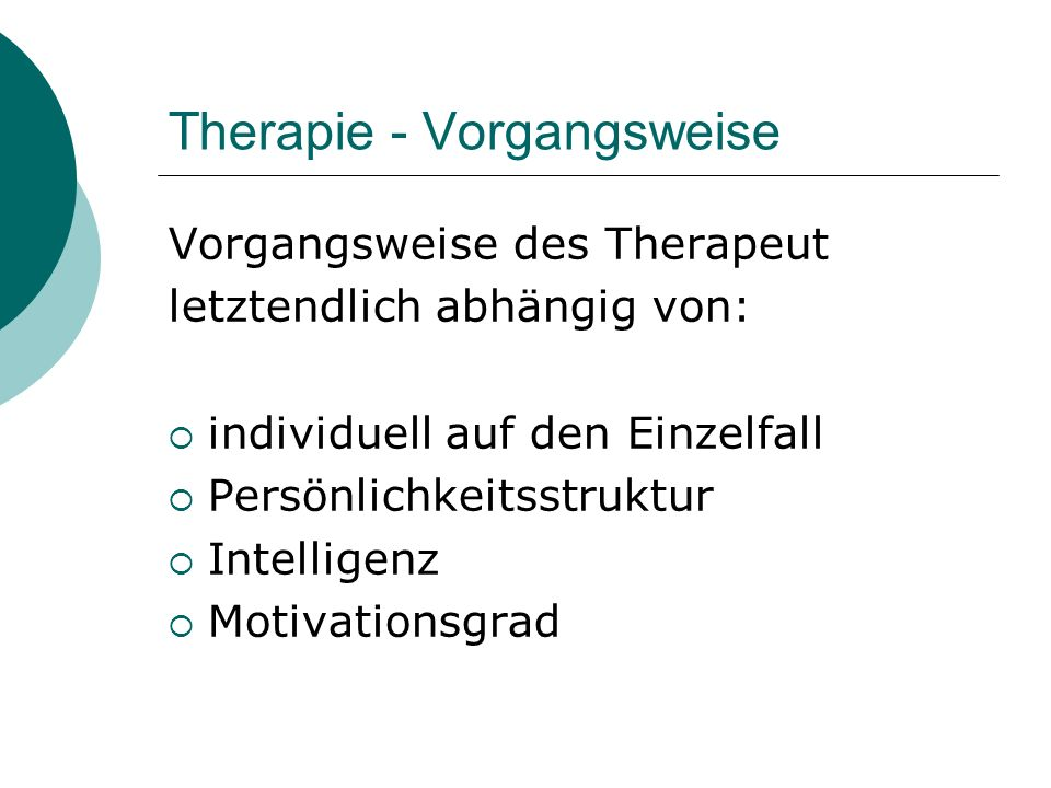 Therapie - Vorgangsweise