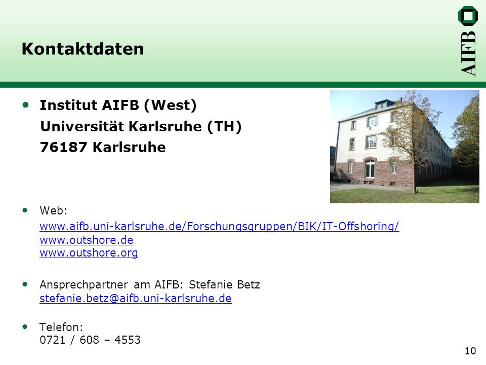 Kontaktdaten Institut AIFB (West) Universität Karlsruhe (TH)