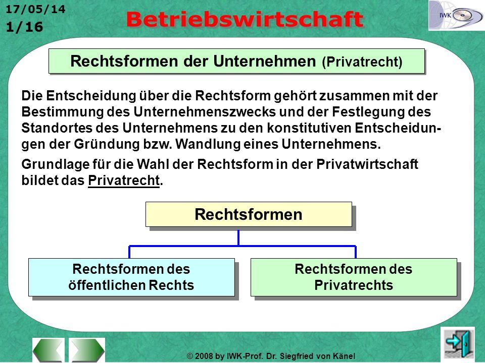 Rechtsformen der Unternehmen (Privatrecht) Rechtsformen