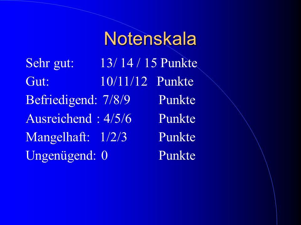 Notenskala Sehr gut: 13/ 14 / 15 Punkte Gut: 10/11/12 Punkte