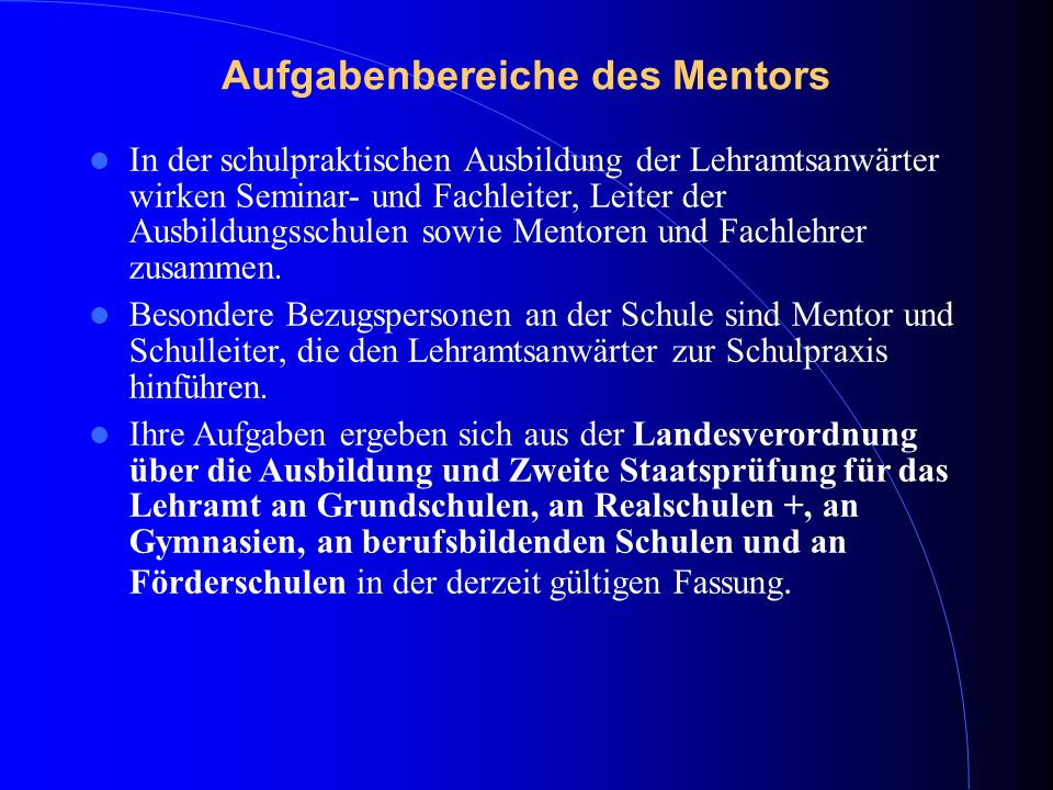 Aufgabenbereiche des Mentors