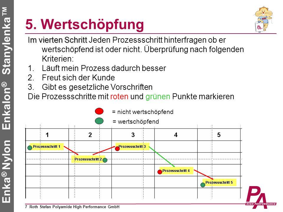 5. Wertschöpfung Im vierten Schritt Jeden Prozessschritt hinterfragen ob er wertschöpfend ist oder nicht. Überprüfung nach folgenden Kriterien: