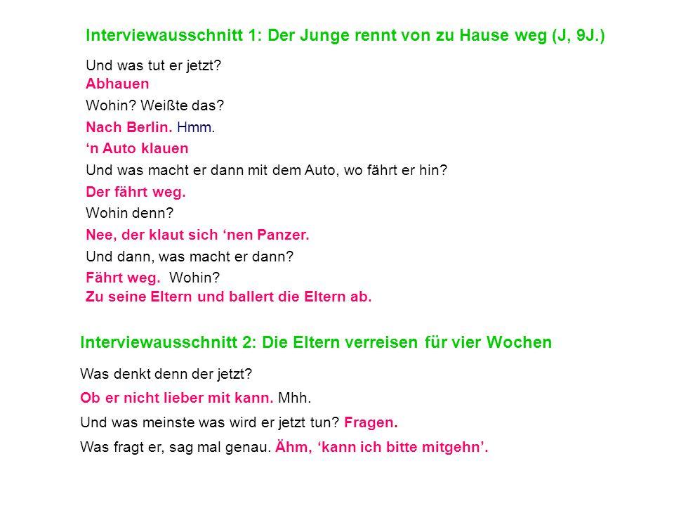 Interviewausschnitt 1: Der Junge rennt von zu Hause weg (J, 9J.)