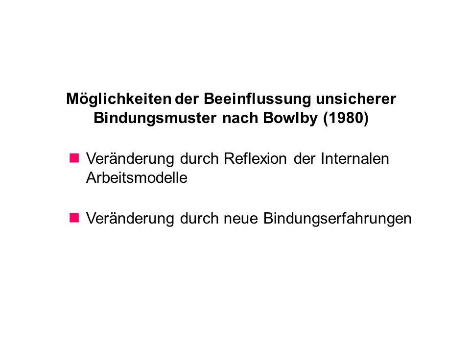 Möglichkeiten der Beeinflussung unsicherer Bindungsmuster nach Bowlby (1980)
