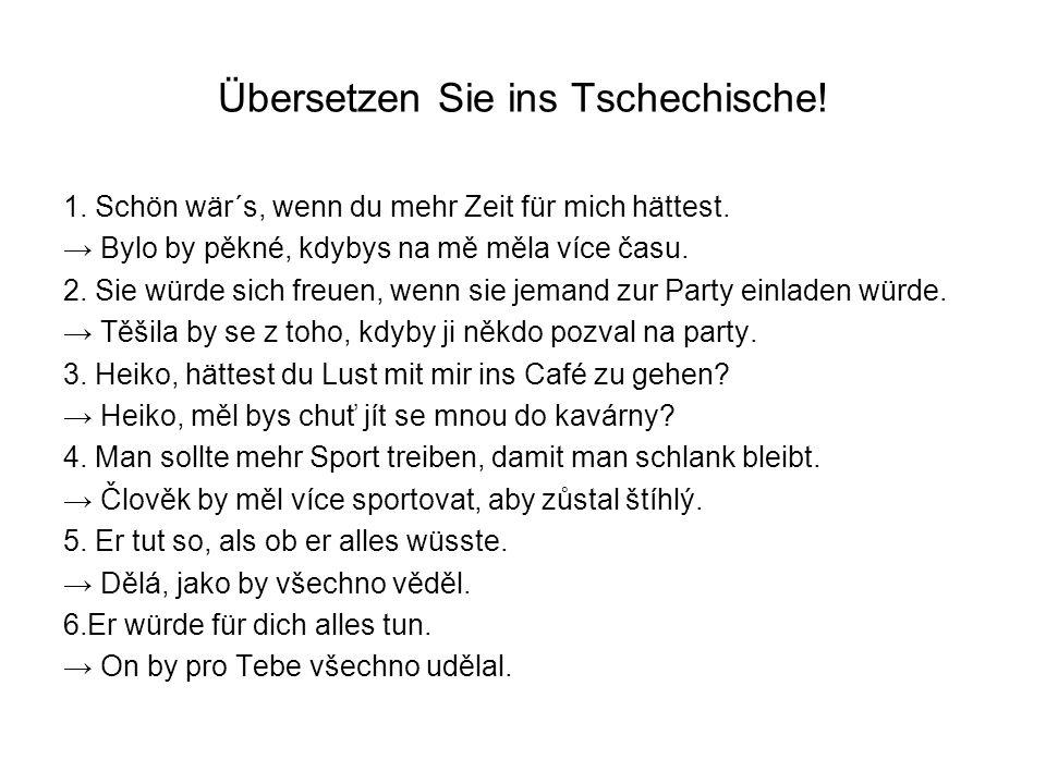 Übersetzen Sie ins Tschechische!