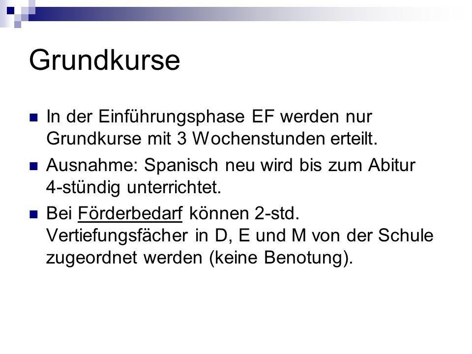 Grundkurse In der Einführungsphase EF werden nur Grundkurse mit 3 Wochenstunden erteilt.