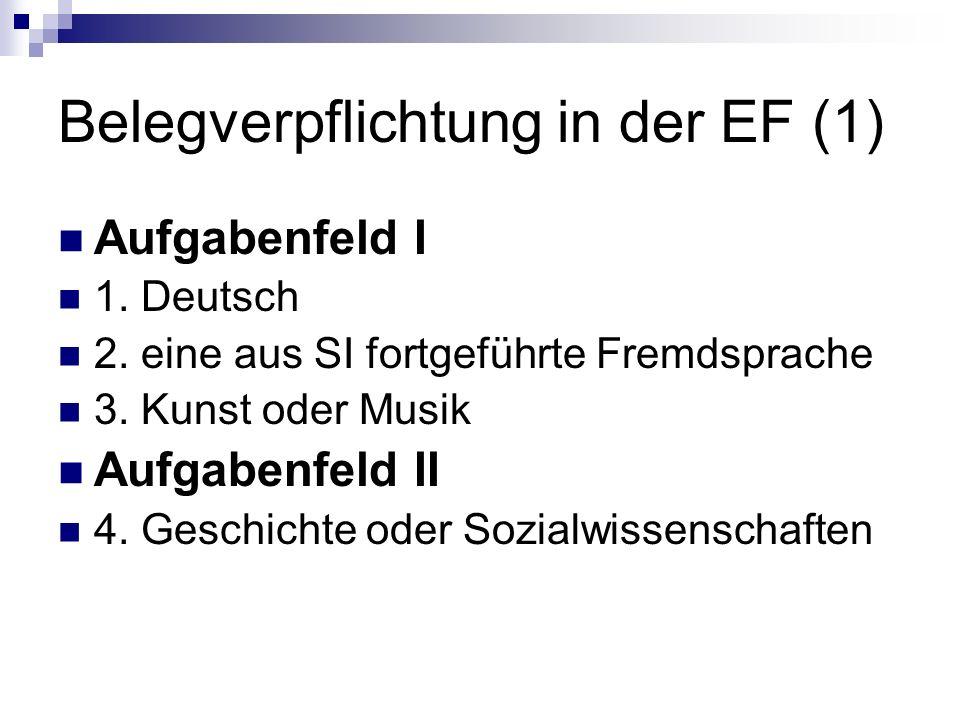 Belegverpflichtung in der EF (1)