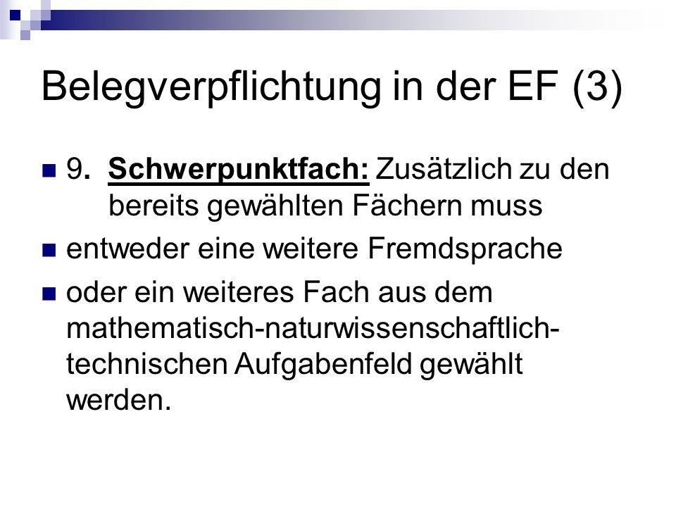 Belegverpflichtung in der EF (3)