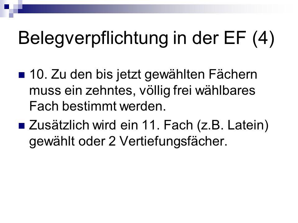 Belegverpflichtung in der EF (4)