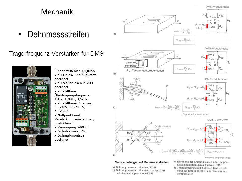 Dehnmessstreifen Mechanik Trägerfrequenz-Verstärker für DMS 31.03.2017