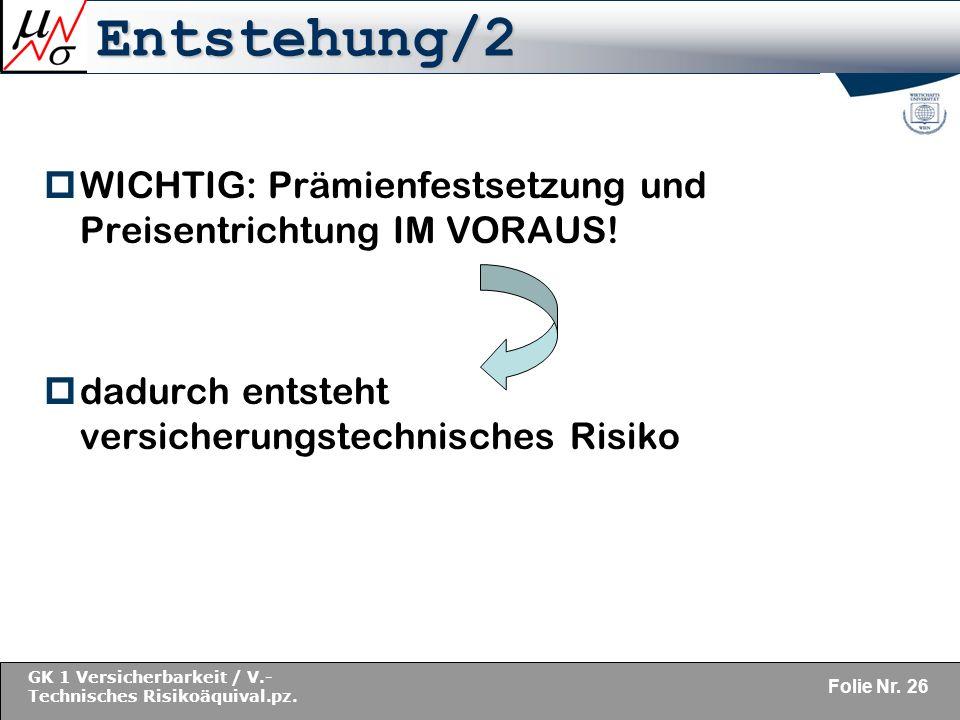 Entstehung/2 WICHTIG: Prämienfestsetzung und Preisentrichtung IM VORAUS.