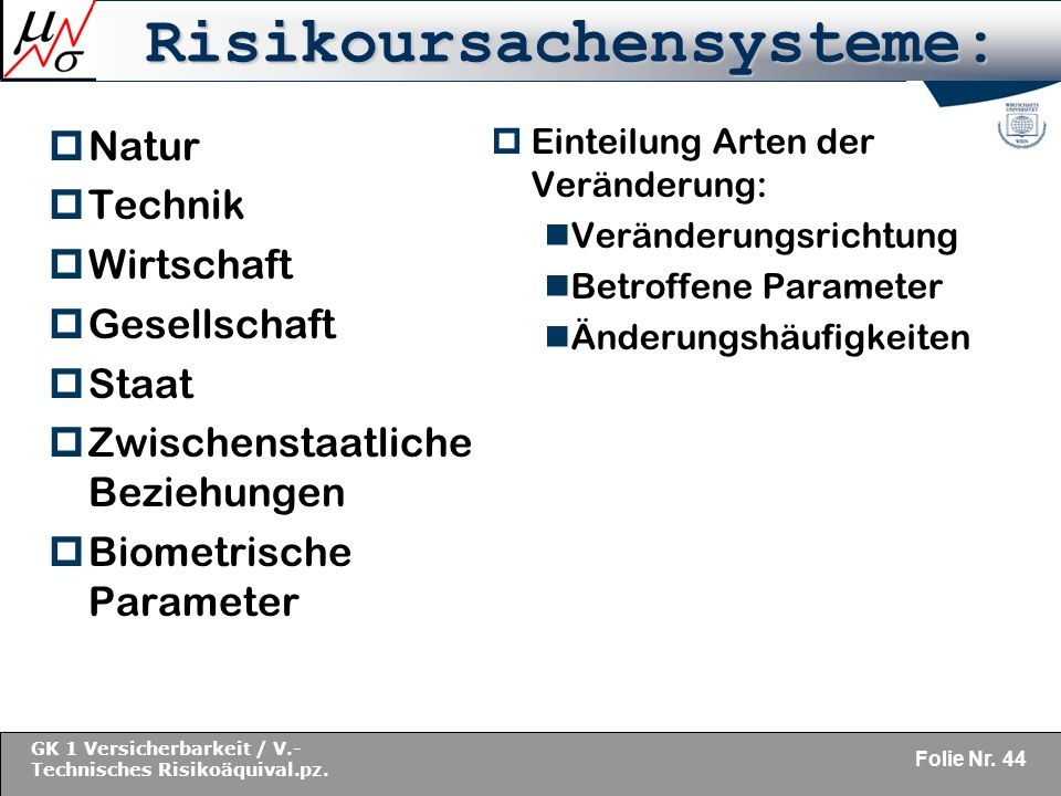 Risikoursachensysteme: