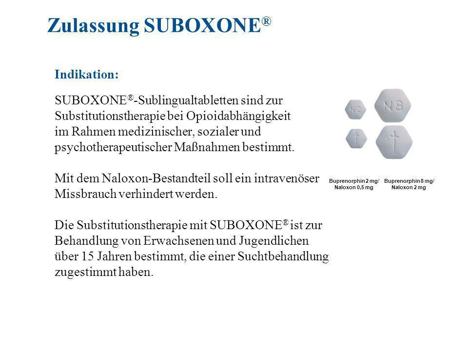 Zulassung SUBOXONE® Indikation: SUBOXONE®-Sublingualtabletten sind zur