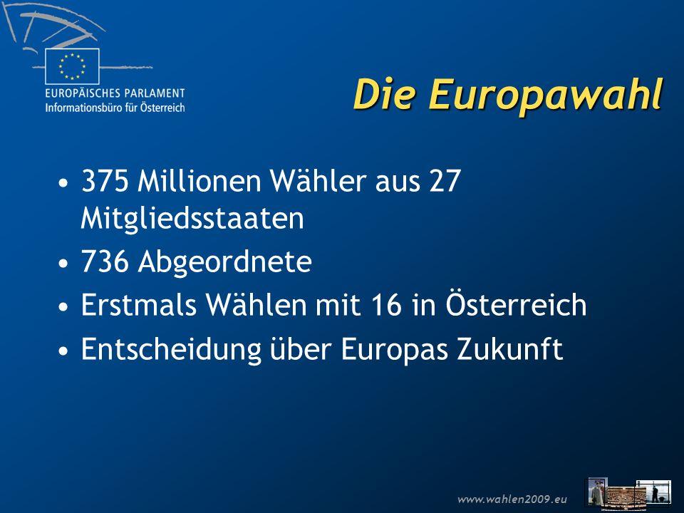 Die Europawahl 375 Millionen Wähler aus 27 Mitgliedsstaaten