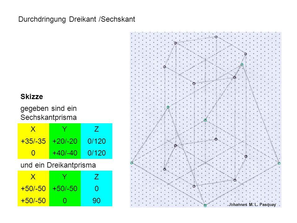 Durchdringung Dreikant /Sechskant