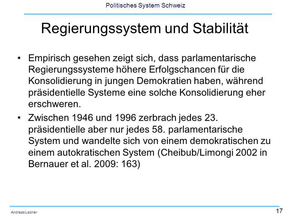 Regierungssystem und Stabilität