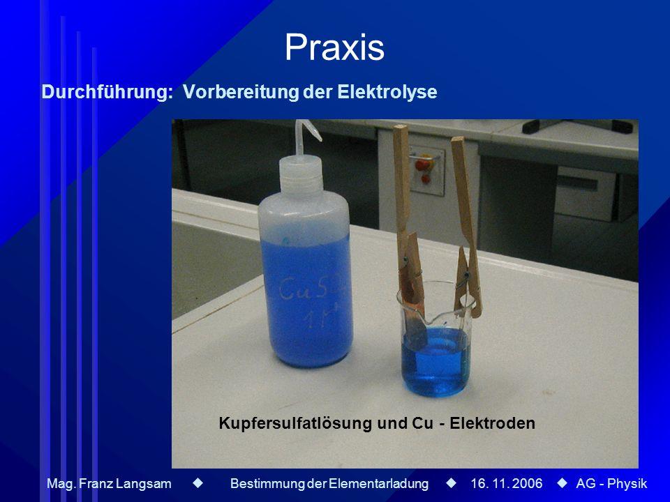 Kupfersulfatlösung und Cu - Elektroden