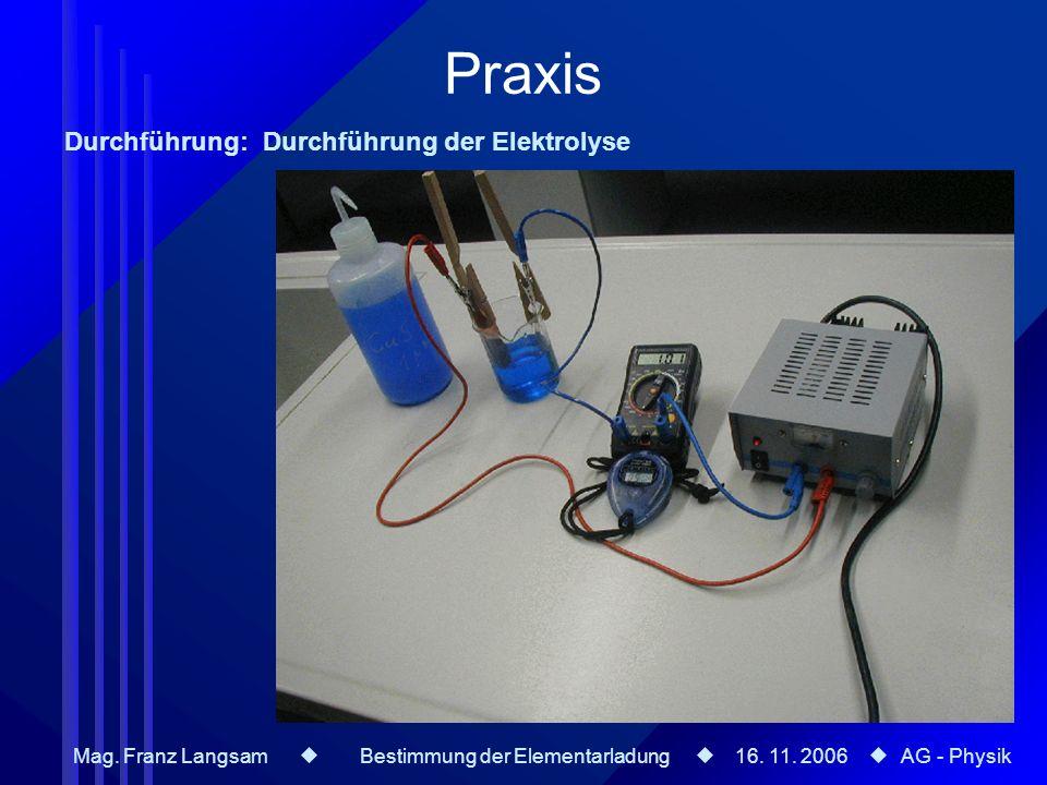 Praxis Durchführung: Durchführung der Elektrolyse