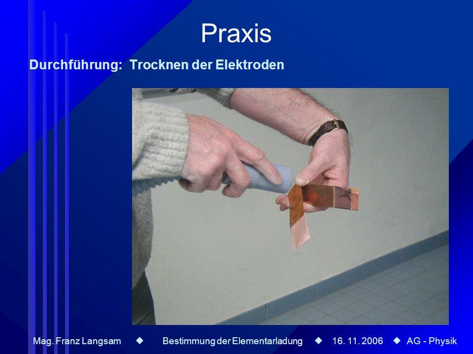 Praxis Durchführung: Trocknen der Elektroden