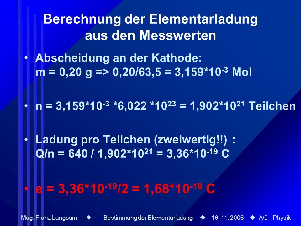 Berechnung der Elementarladung aus den Messwerten